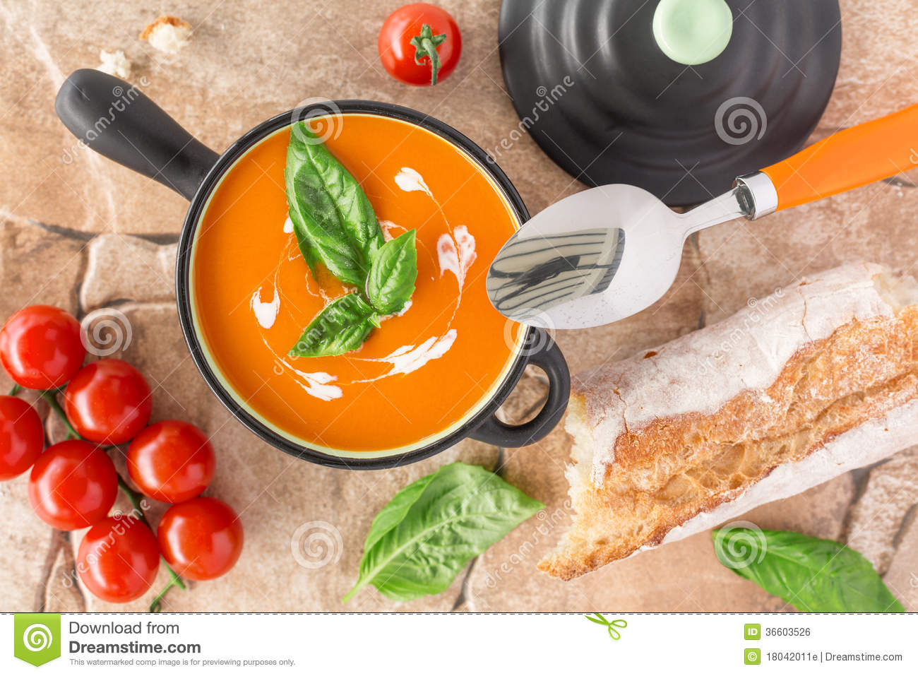 Overhead View Of A Tomato Soup Royalty Free Stock Image ... Cream Of Tomato Soup With Garnish