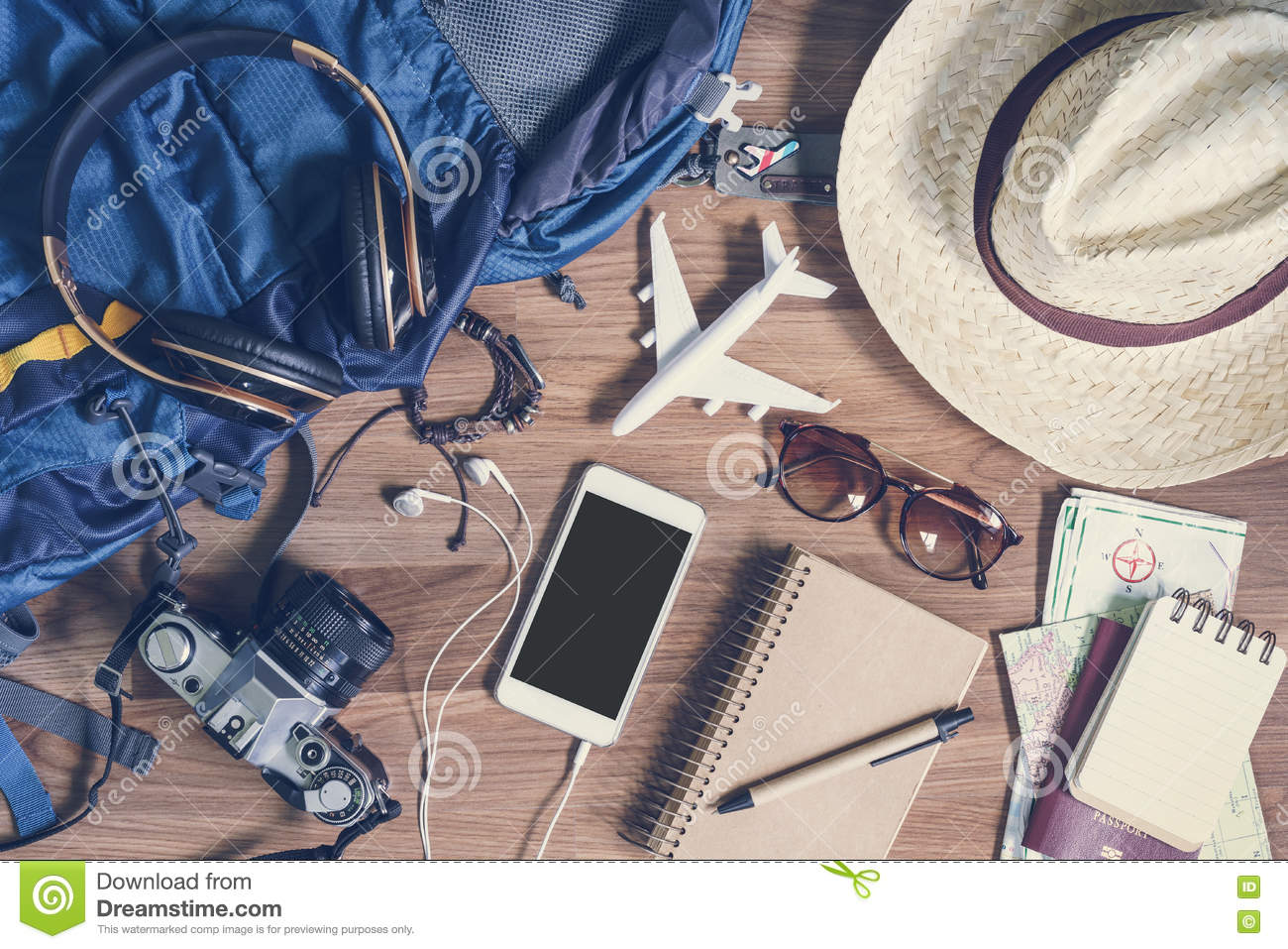 Overhead view of Traveler s accessories and items, Travel concep