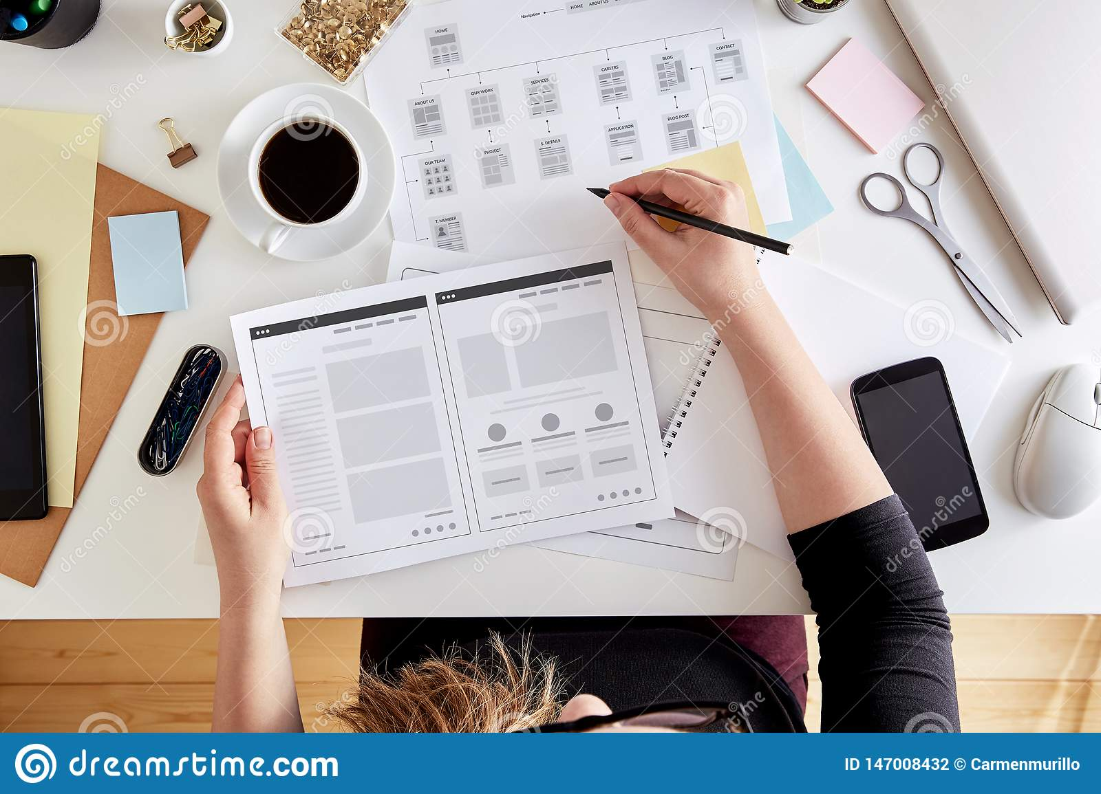 Wireframing stage of a web design project
