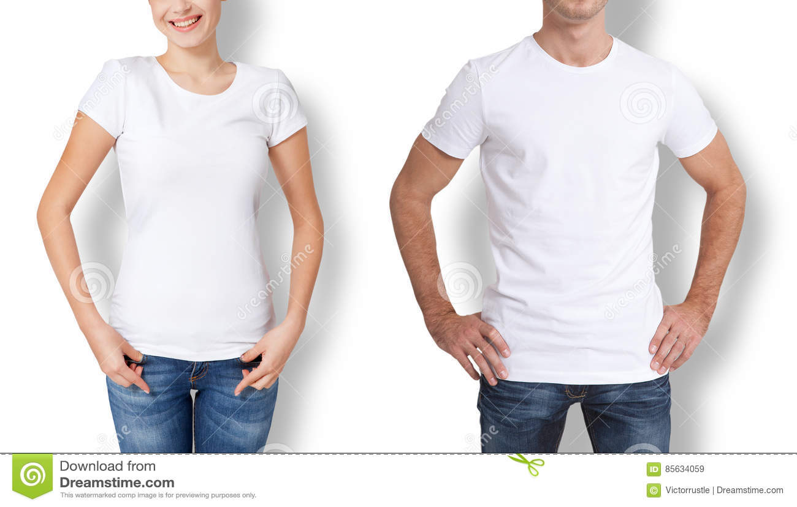 Overhemdsontwerp en mensenconcept - sluit omhoog van de jonge mens en vrouw in lege witte t-shirt