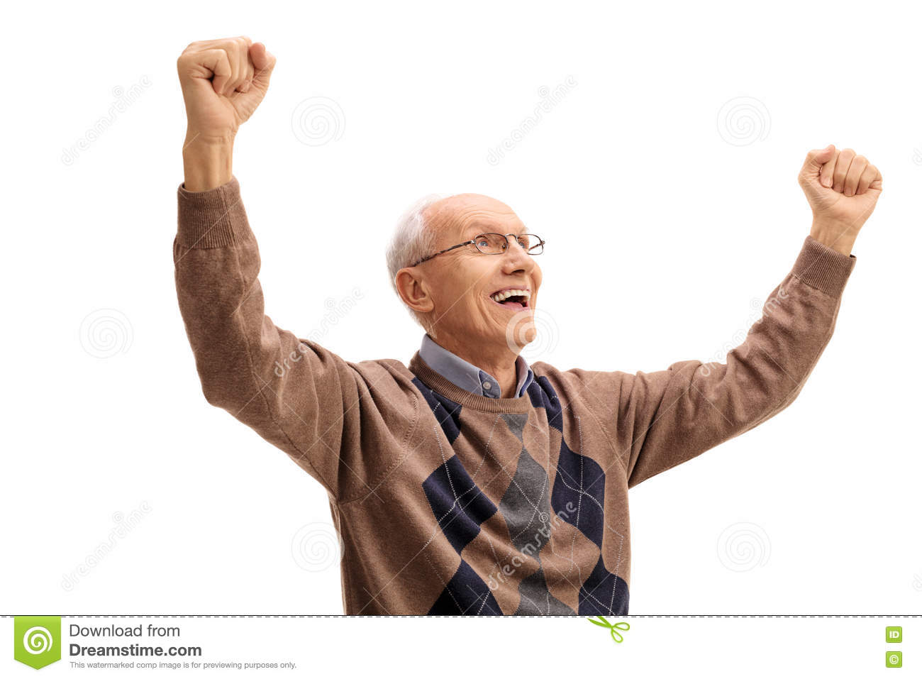 Overjoyed Elderly Man Gesturin...