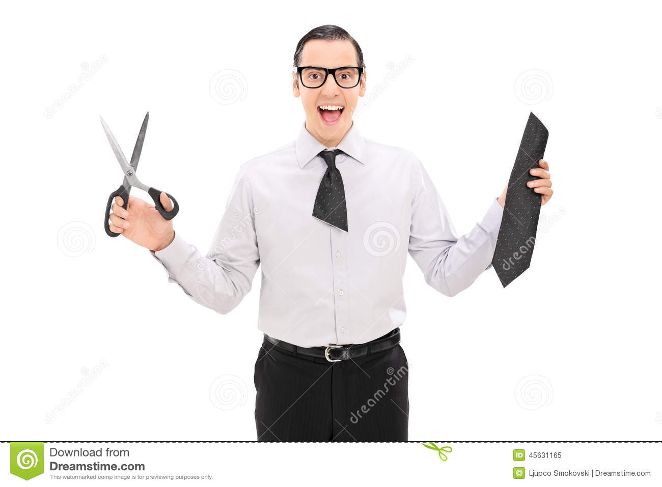 overjoyed with a cut tie holding scissors stock photo