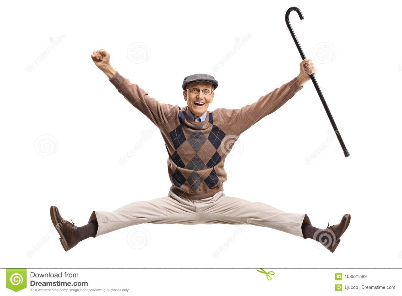 Overjoyed Senior With A Cane J...
