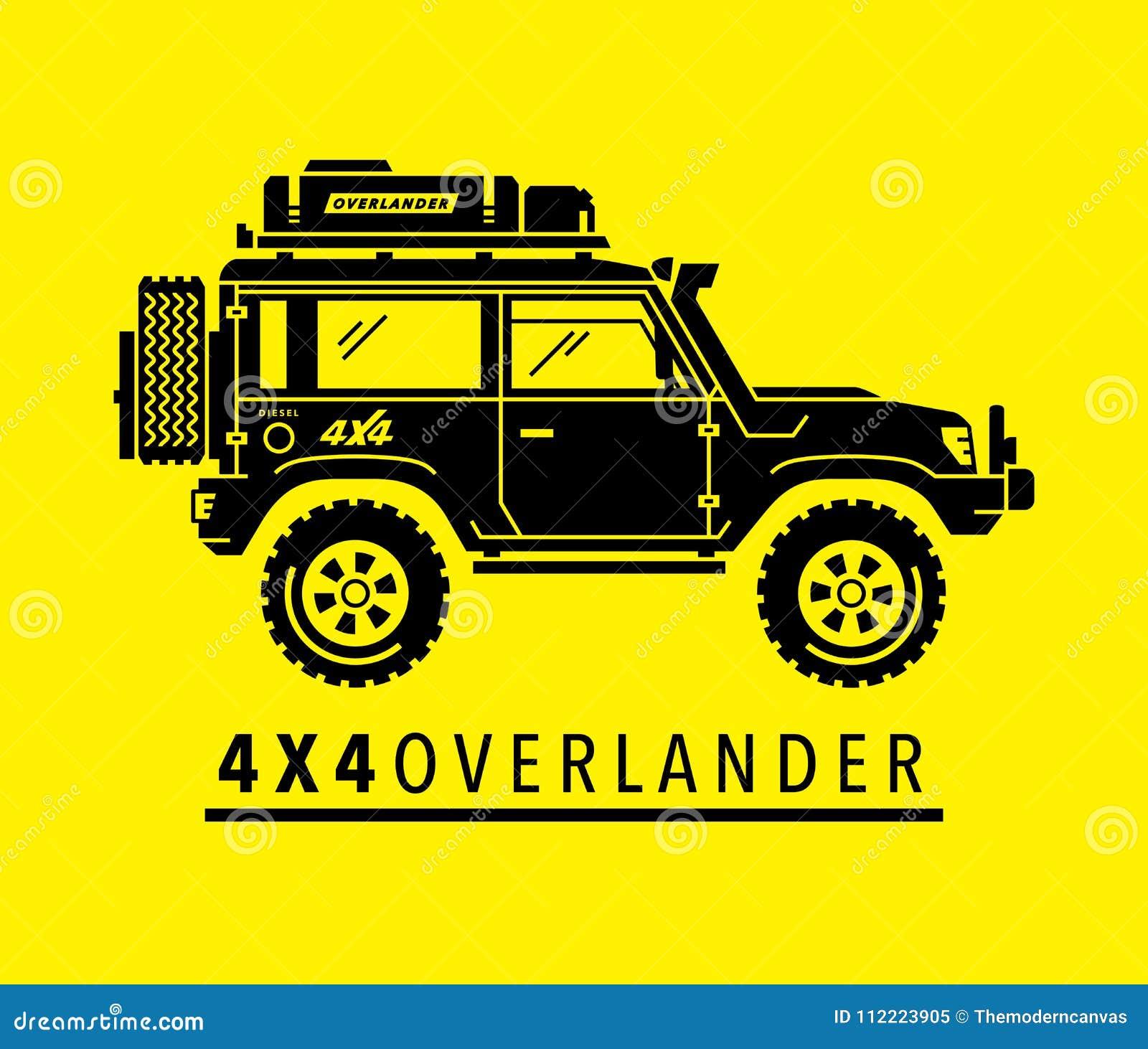 Overland Off Road 4x4 All Terrain 4wd Suv Safari Vehicle Stock Vector Illustration Of Black Motor 112223905