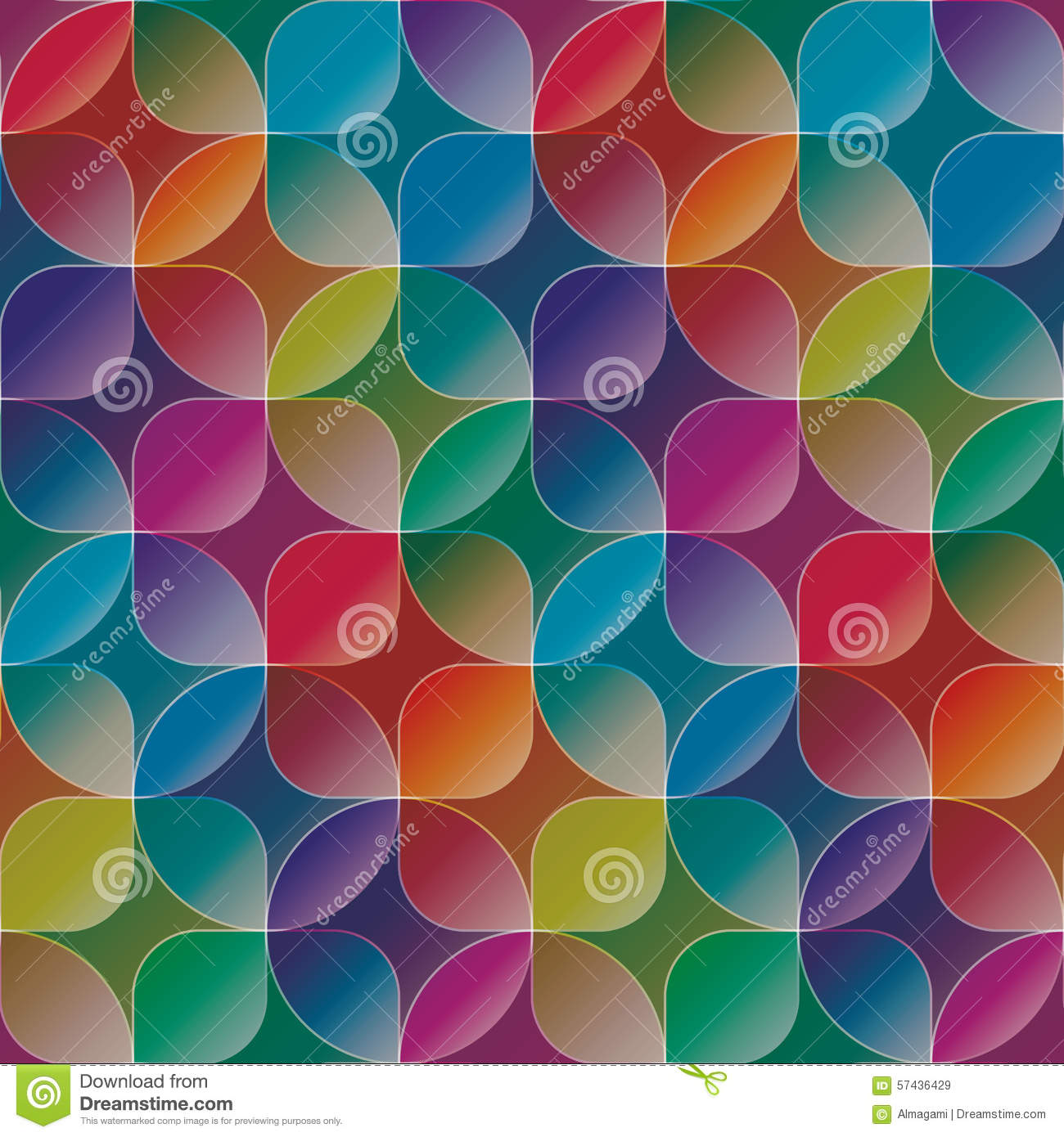 Overlap And Transparent Circles And Squares Colorful