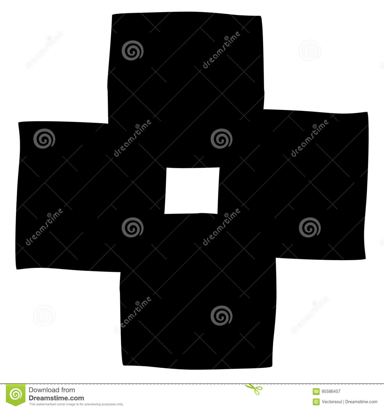 Overlapping basic shapes abstract element with slight distortion