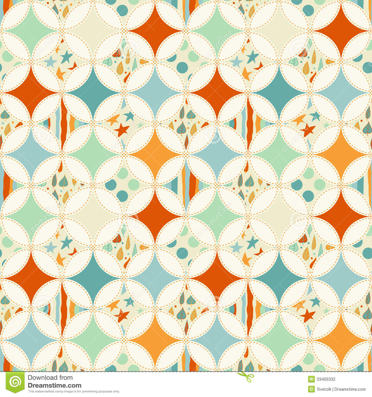 Overlapping Circles Seamless Pattern Stock Photography