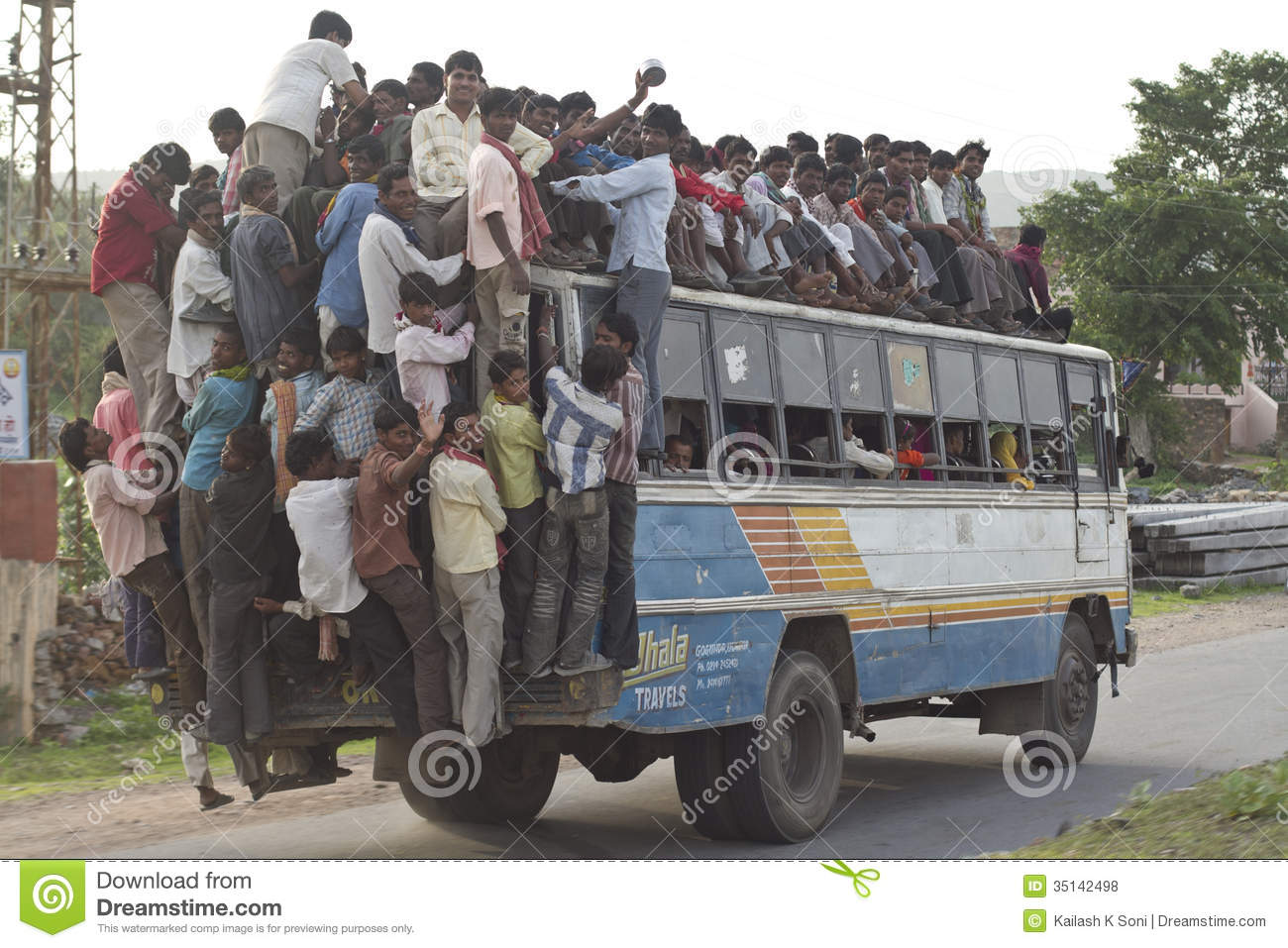 Overload bus editorial stock photo  Image of togetherness