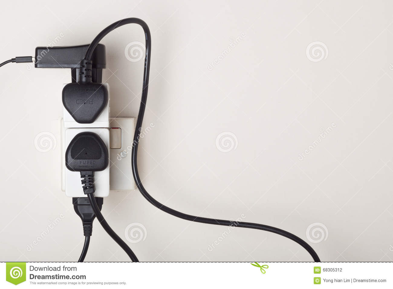 Overloaded Ac Power Wall Socket Stock Photo Image Of Wiring