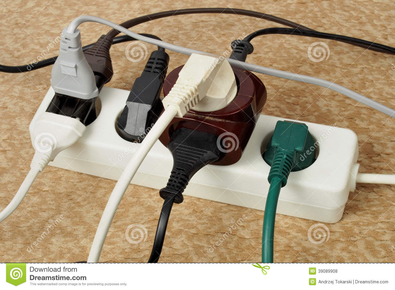 Animation Extension Lead : Overloaded extension cord stock photo image