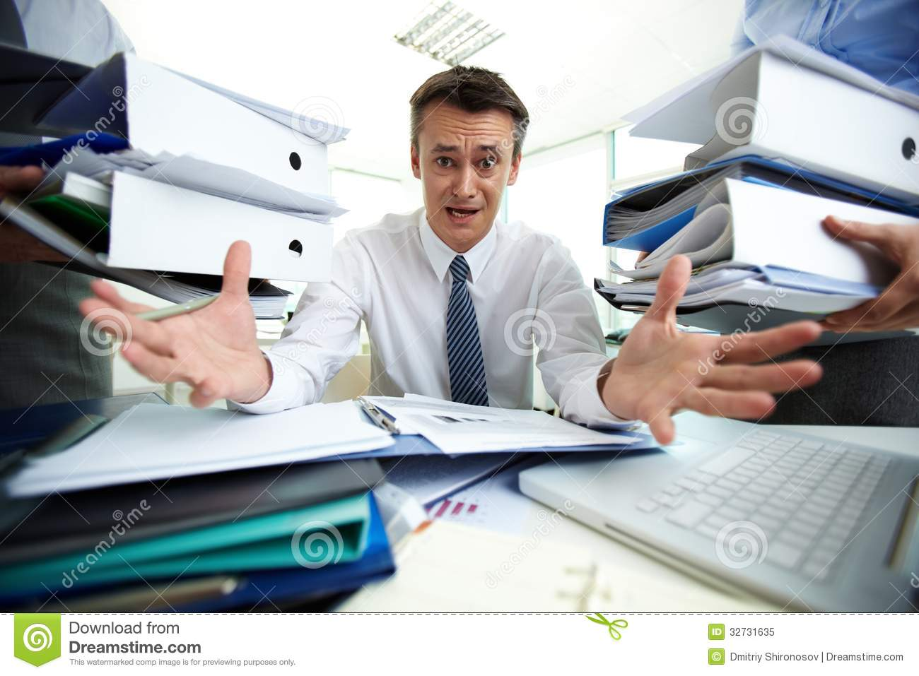 Overloaded With Paperwork Royalty Free Stock Photo - Image ...