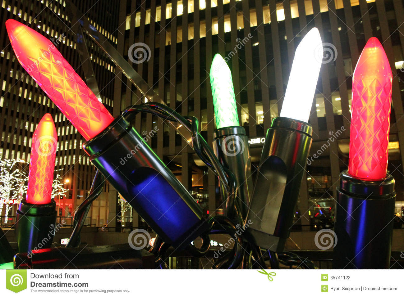 Oversized Christmas Lights Close Up Stock Photos - Image: 35741123