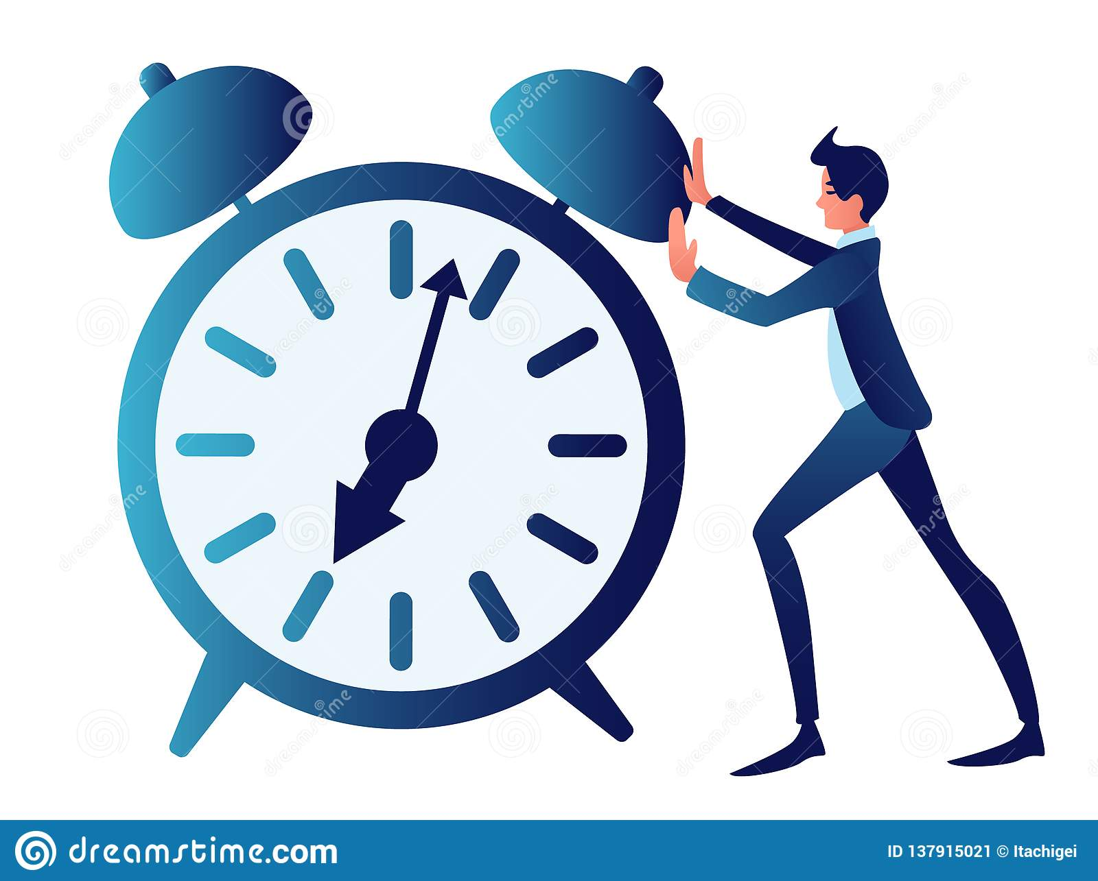 Overtime, ambiguous, time management. Abstract concept, a businessman is pushing a clock. In minimalist style.
