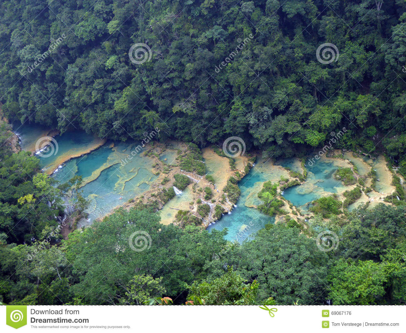 Overview Of Semuc Champey S Turquoise Pools Stock Photo
