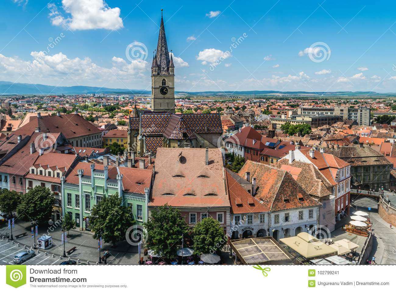 Overview of Sibiu, view from above, Transylvania, Romania, July