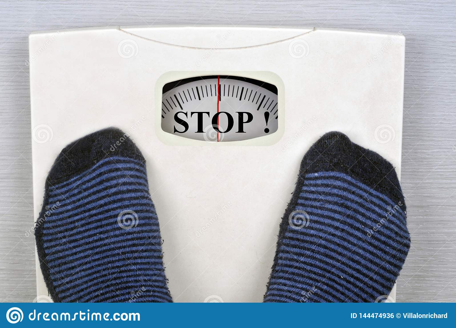 Bathroom Scale Indicating Stop Stock Photo - Image of word ...