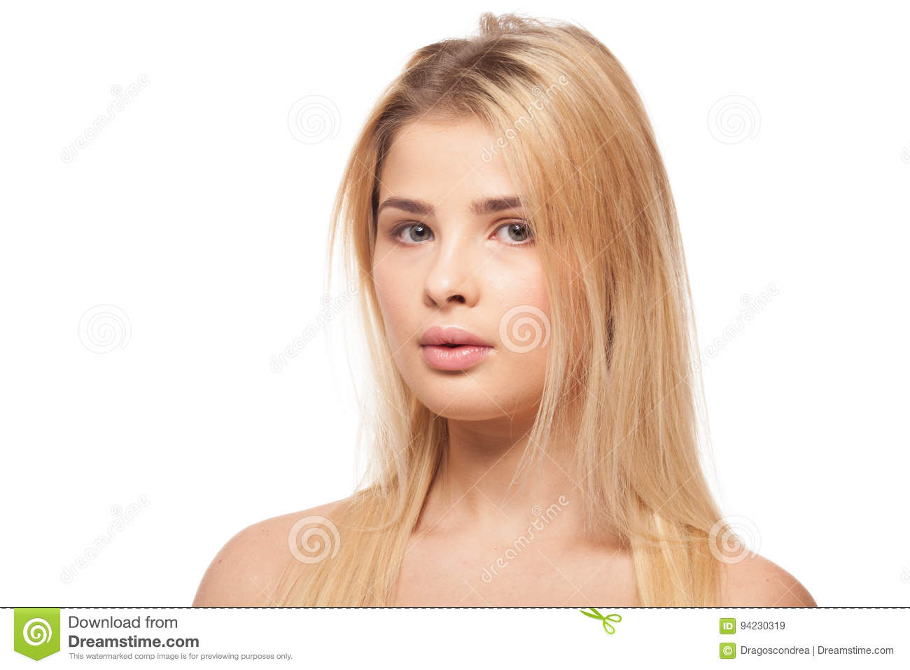 Overweight girl on white background