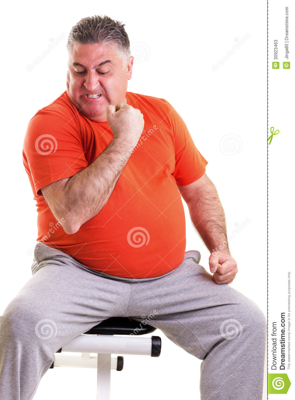 Overweight Man Showing His Strength After Doing Exercises ...
