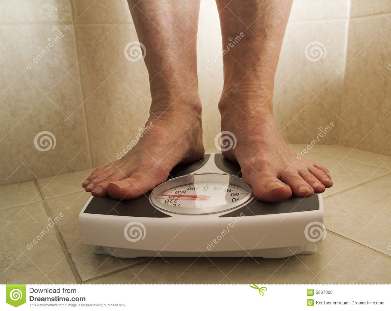 Overweight Person On Scale Stock Photo  Image Of Tile