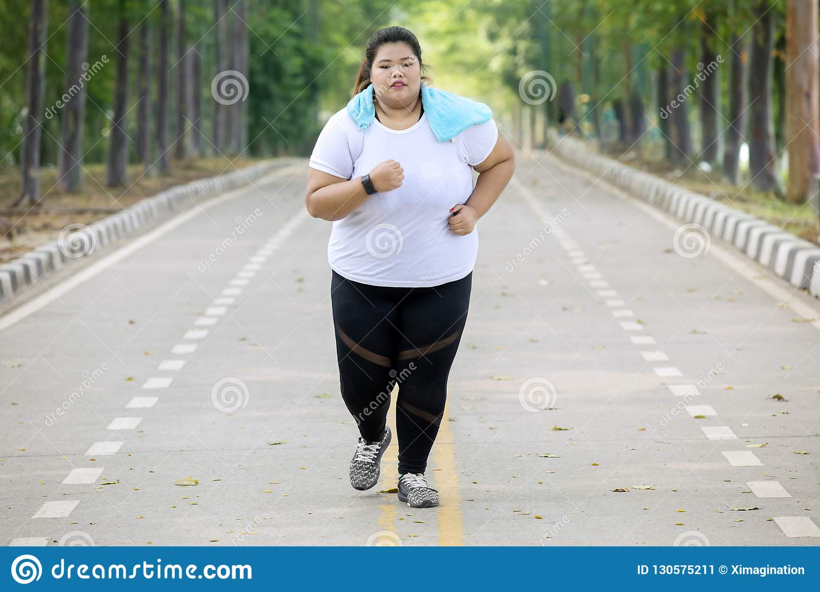Overweight Woman Doing Runs Exercise On The Road Stock Image Image Of Jogging Jogger 130575211