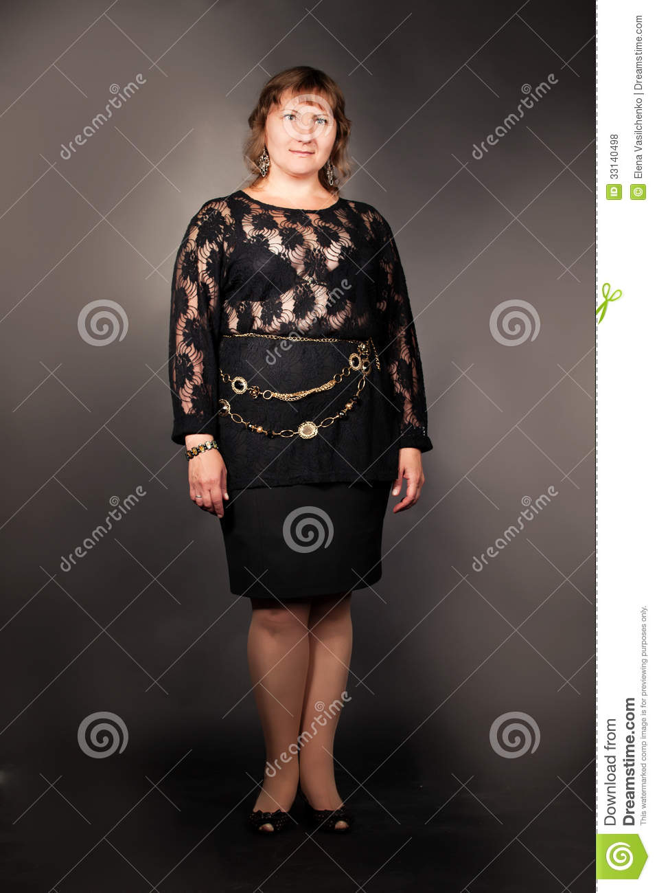 overweight woman posing over dark background stock photo - image of
