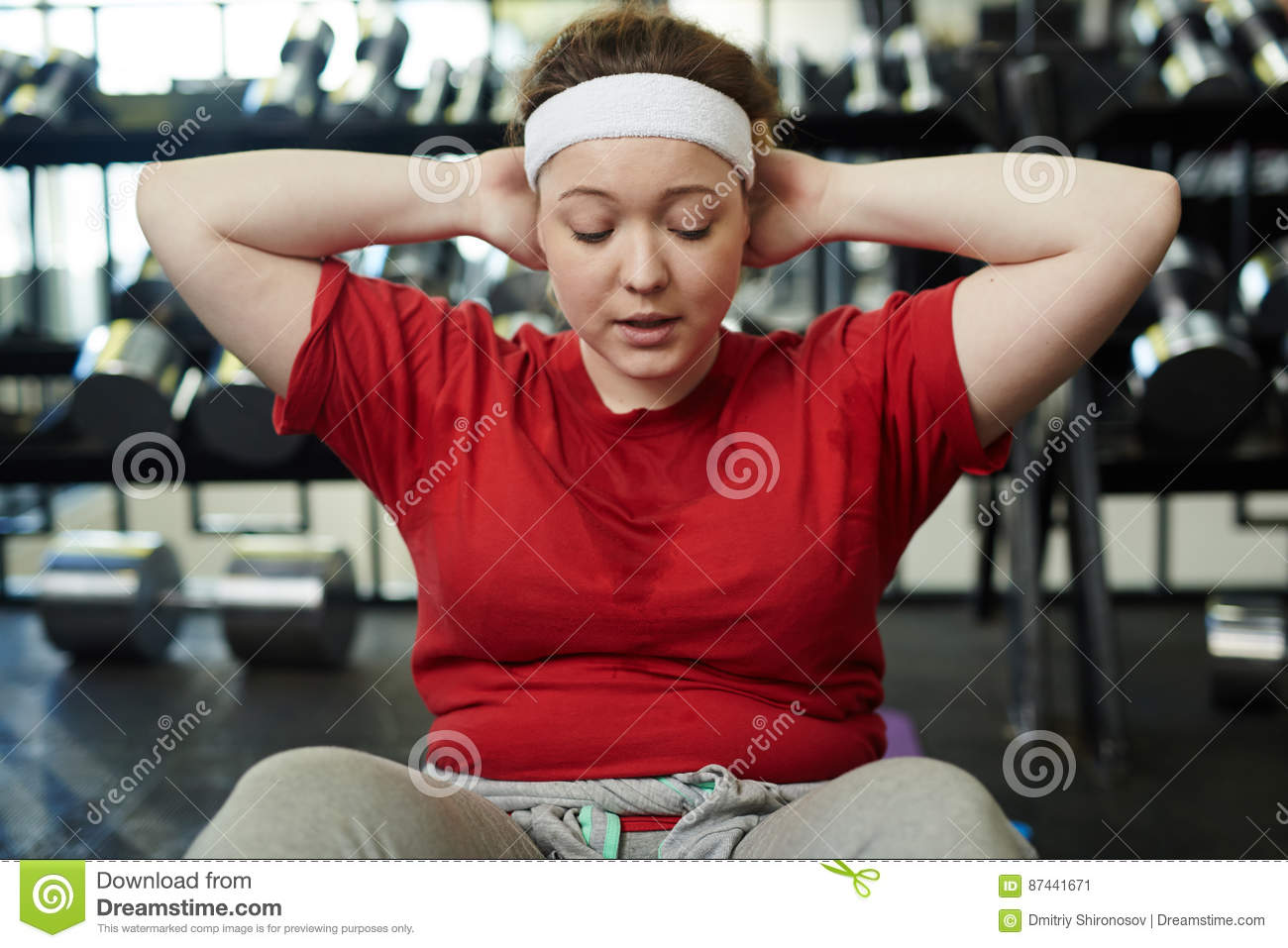 Overweight Woman Sweating In Gym To Be Fit Stock Image Image Of Sport Weight 87441671
