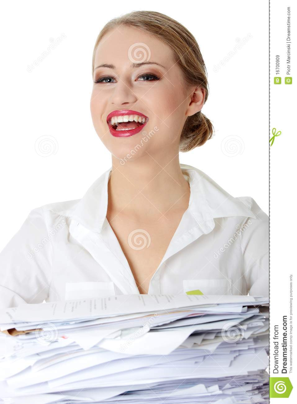 Overworked Businesswoman Stock Image Image Of Overworked