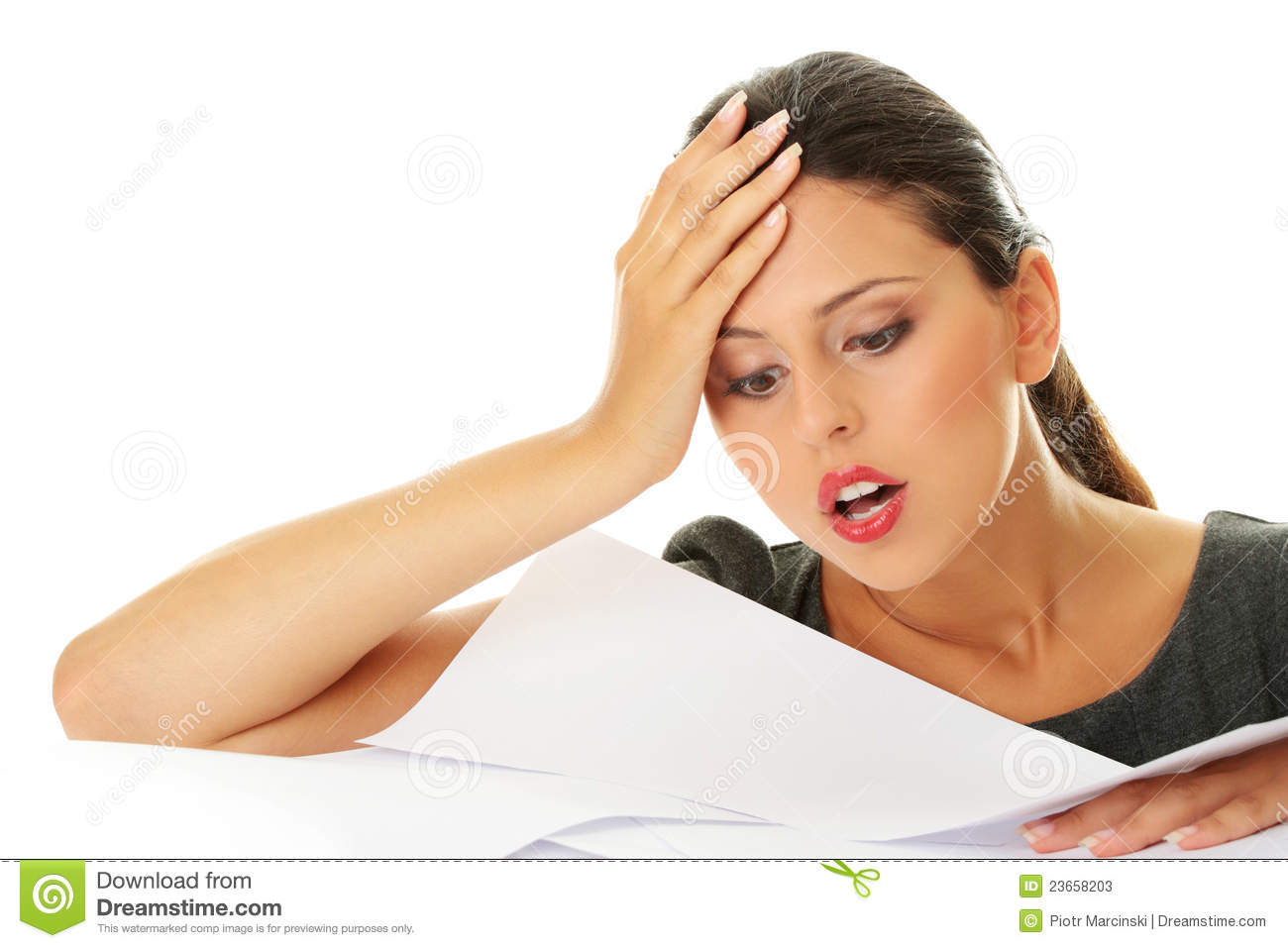 Overworked Businesswoman Stock Image Image Of Paperwork