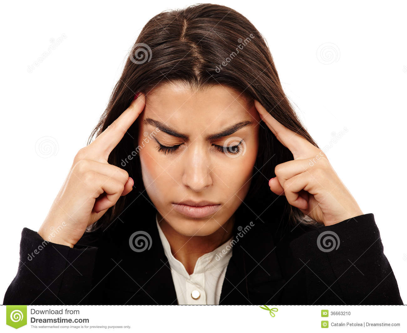 Overworked Businesswoman With Strong Migraine Stock Photo