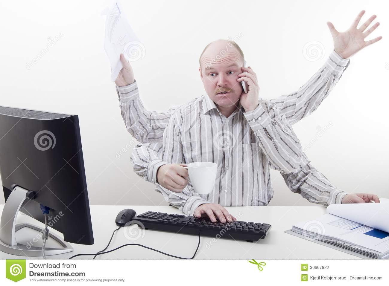Overworked And Busy Businessman Stock Photography - Image ...