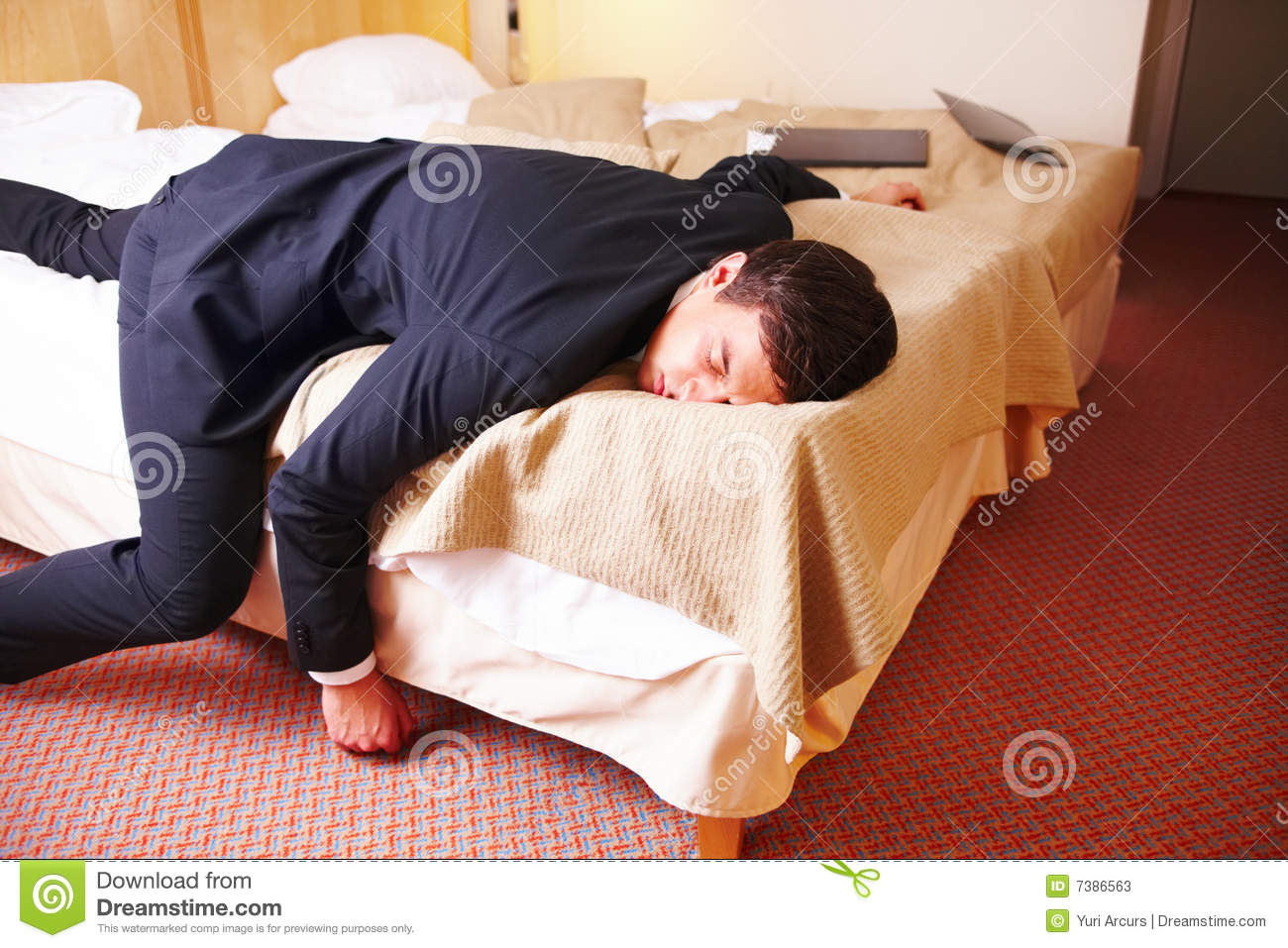 Overworked Tired Businessman Lying On The Bed Stock Image ...
