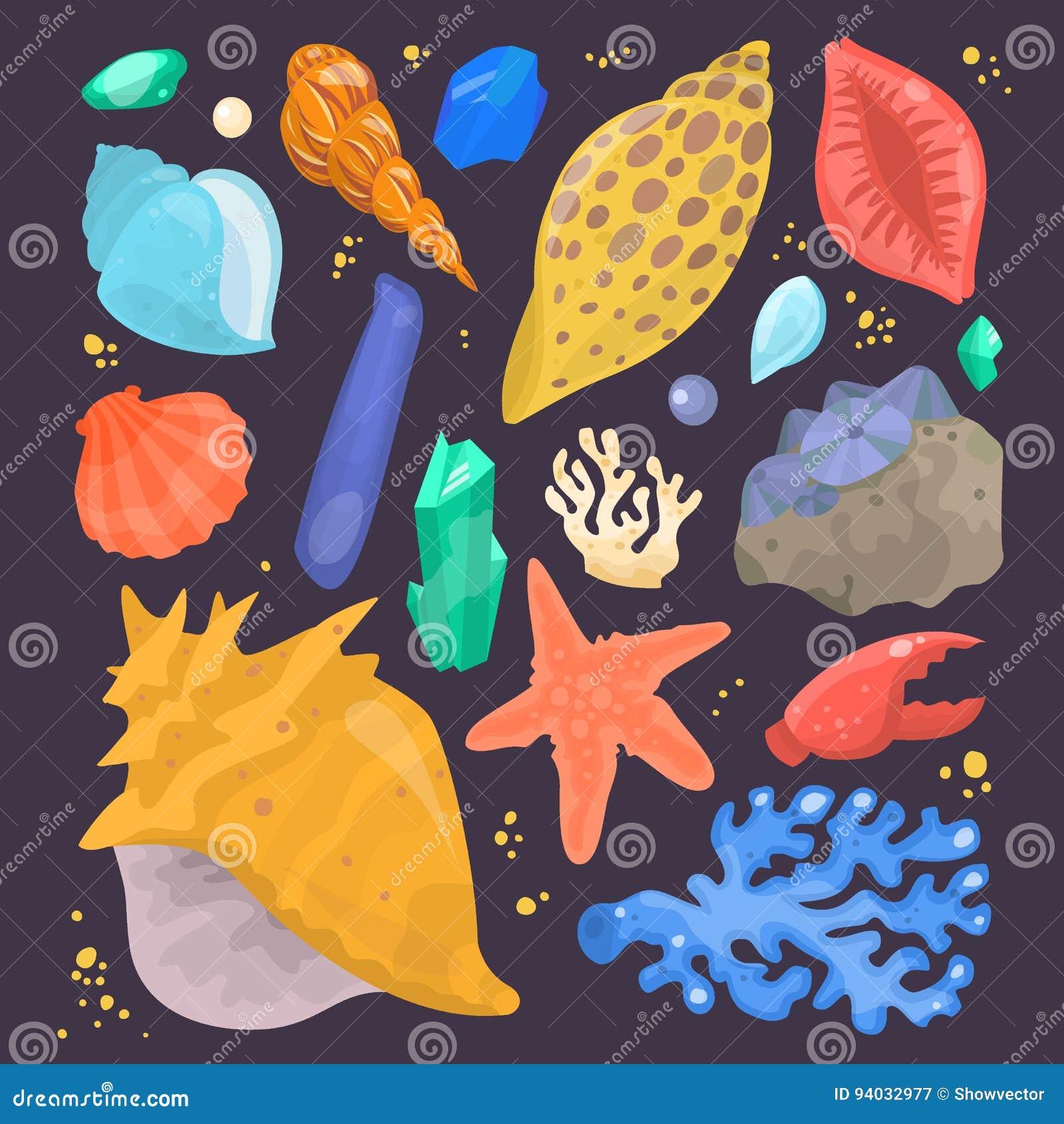 Overzees shells marien beeldverhaal schelpdier-SHELL en oceaan geïsoleerde zeester koraalachtige vectorillustratie