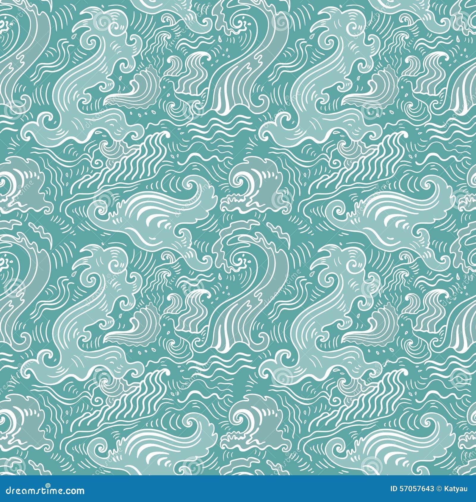 Overzeese golven Naadloze Achtergrond