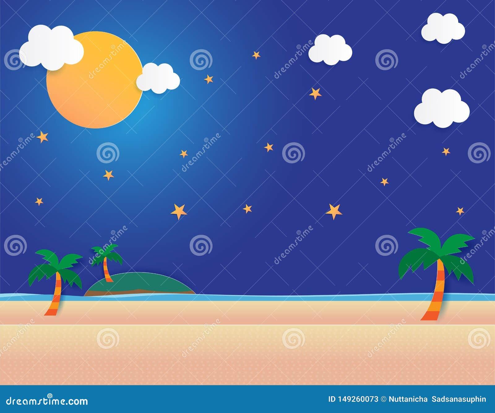 Overzeese mening met maan en sterren in middernacht, Mooie maan bij strand, document van de achtergrond kunststijl vlakke ontwerp