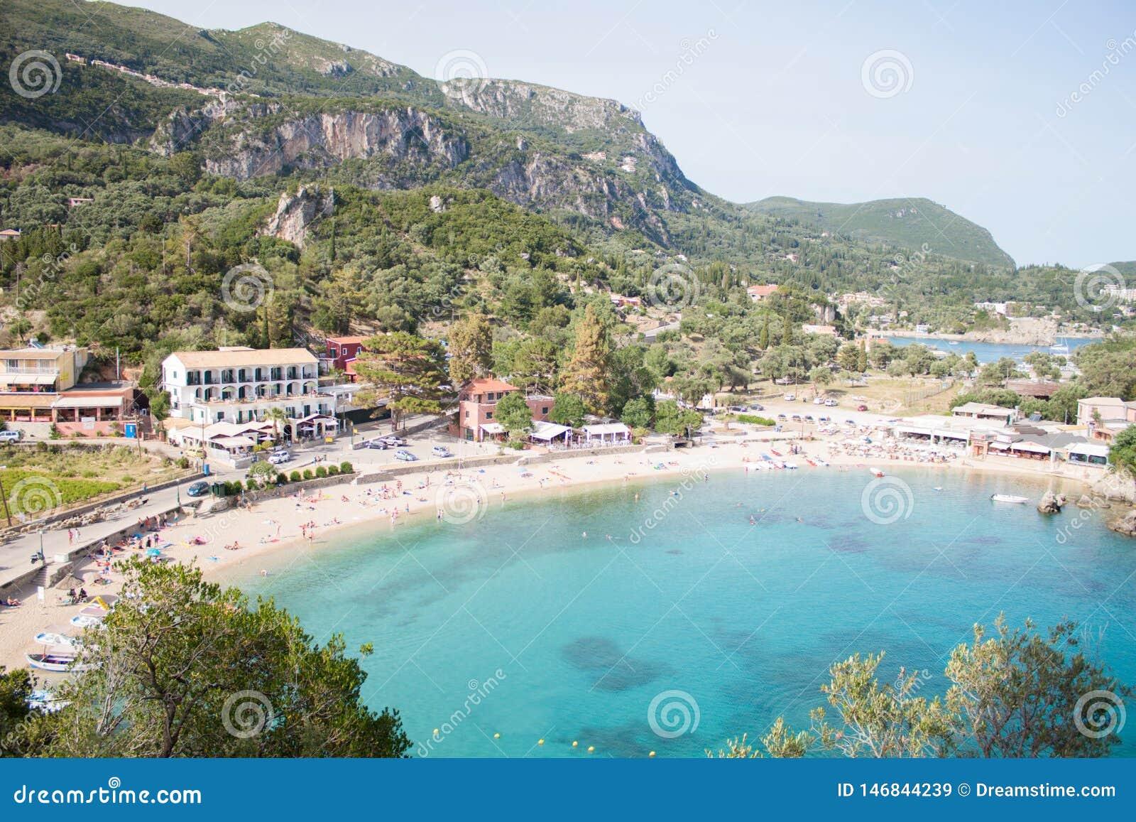 Overzeese toevlucht Ionische overzees Paleokastritsa Het eiland van Korfu Griekenland