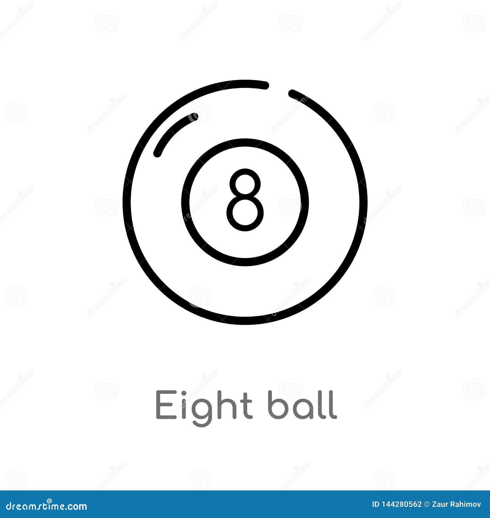 Overzicht acht bal vectorpictogram de geïsoleerde zwarte eenvoudige illustratie van het lijnelement van vermaak en arcadeconcept