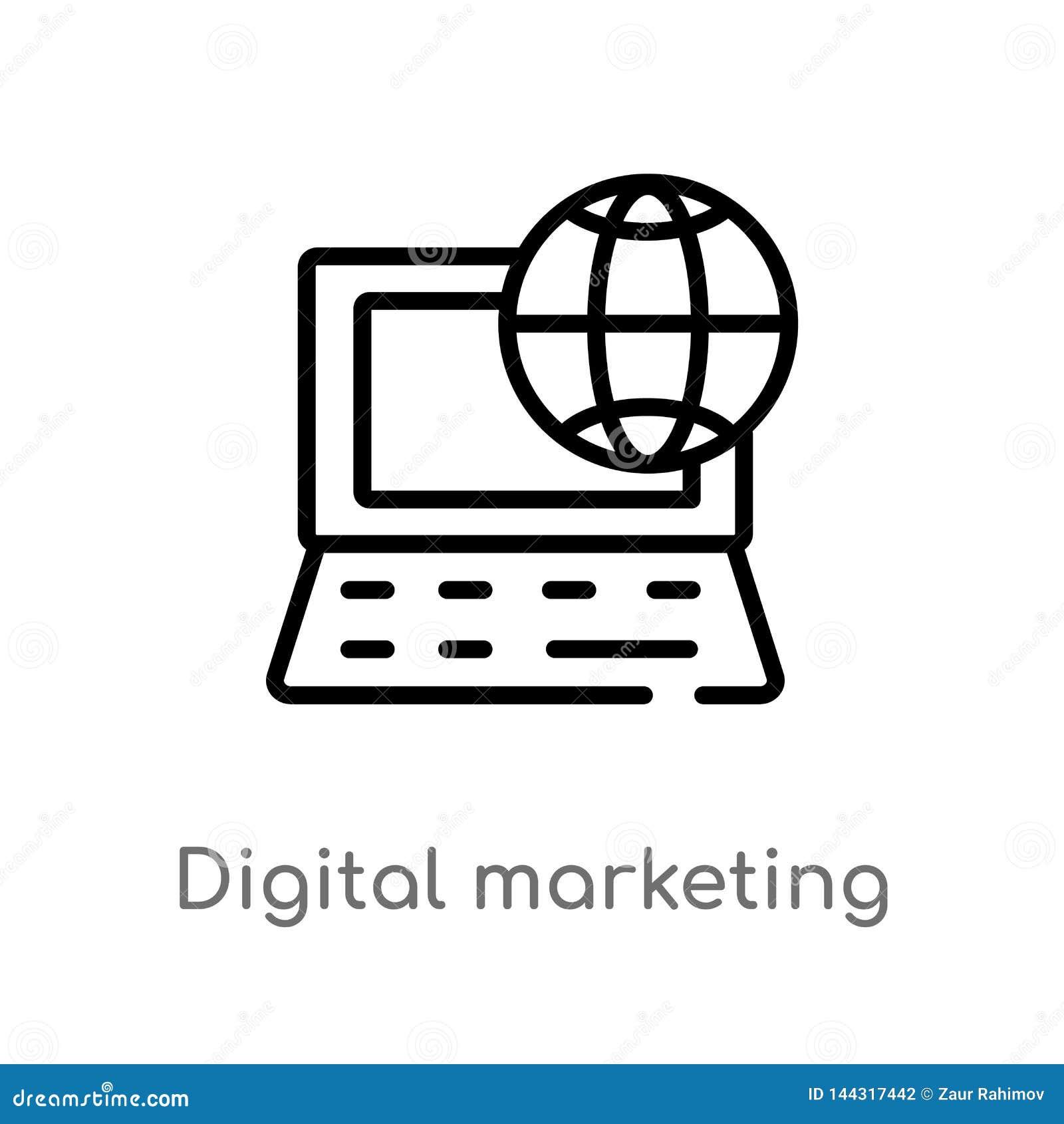 Overzicht digitaal marketing vectorpictogram de geïsoleerde zwarte eenvoudige illustratie van het lijnelement van sociale media d