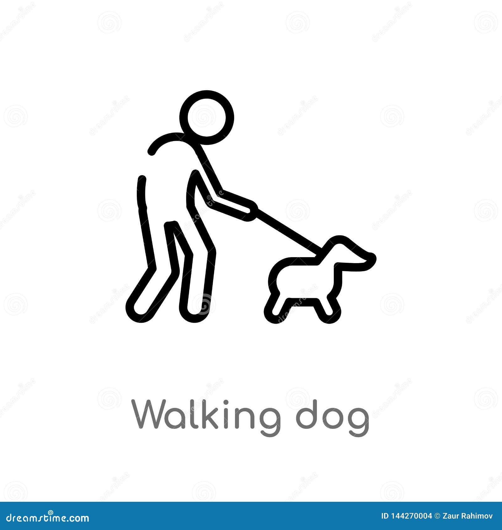 Overzicht het lopen hond vectorpictogram de geïsoleerde zwarte eenvoudige illustratie van het lijnelement van dierenconcept Edita