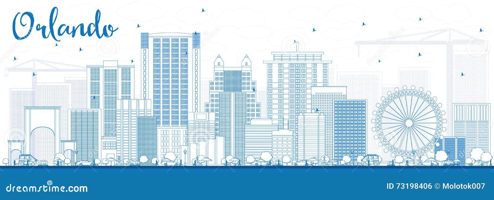 Overzicht Orlando Skyline met Blauwe Gebouwen