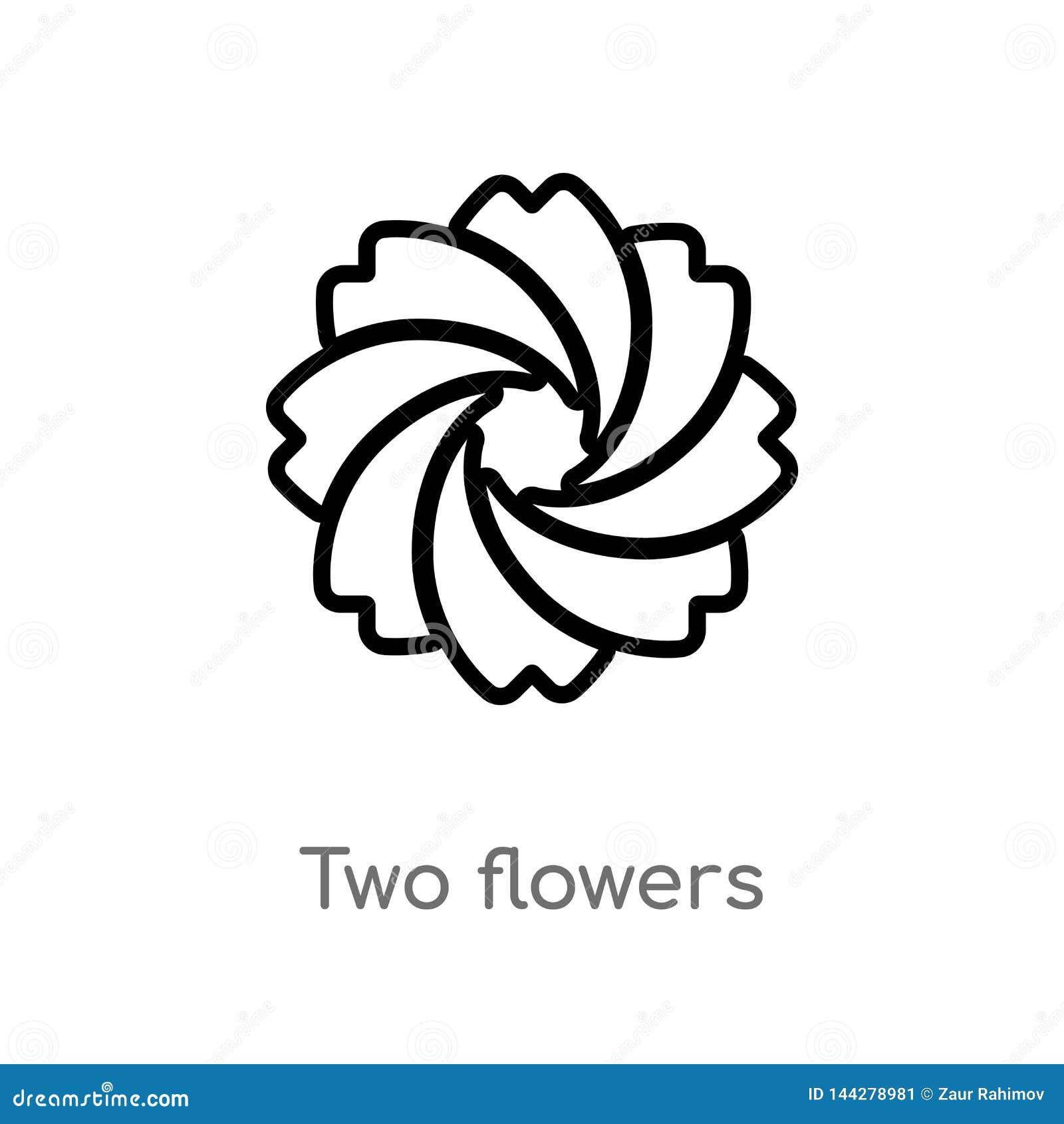 Overzicht twee bloemen vectorpictogram de ge?soleerde zwarte eenvoudige illustratie van het lijnelement van ecologieconcept edita