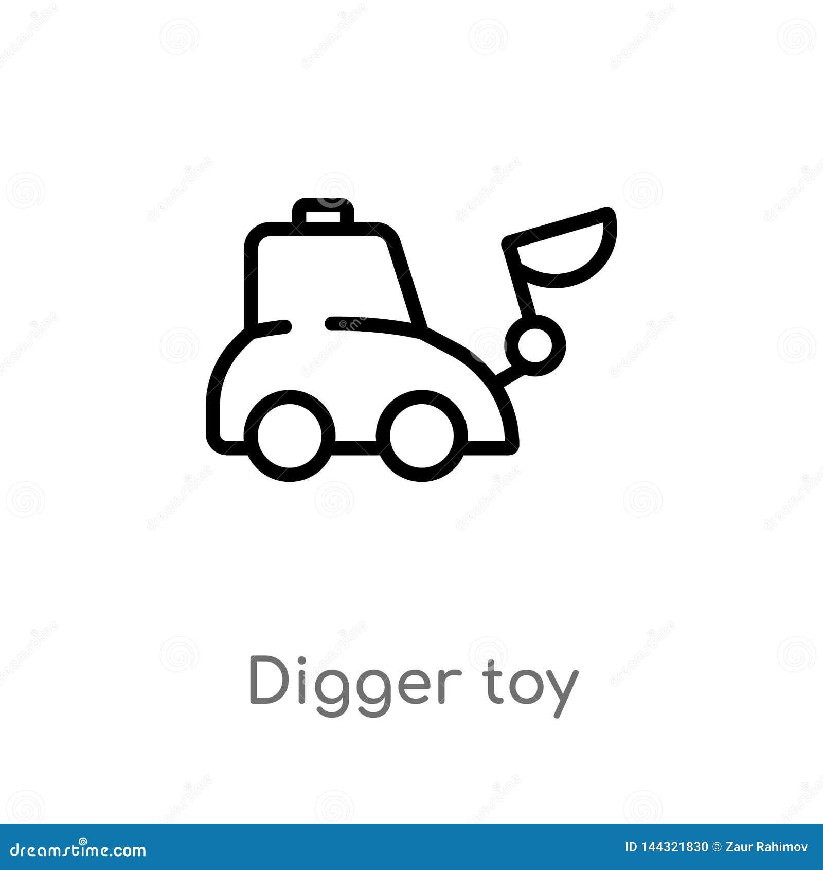 Overzichts graafstuk speelgoed vectorpictogram de ge?soleerde zwarte eenvoudige illustratie van het lijnelement van speelgoedconc
