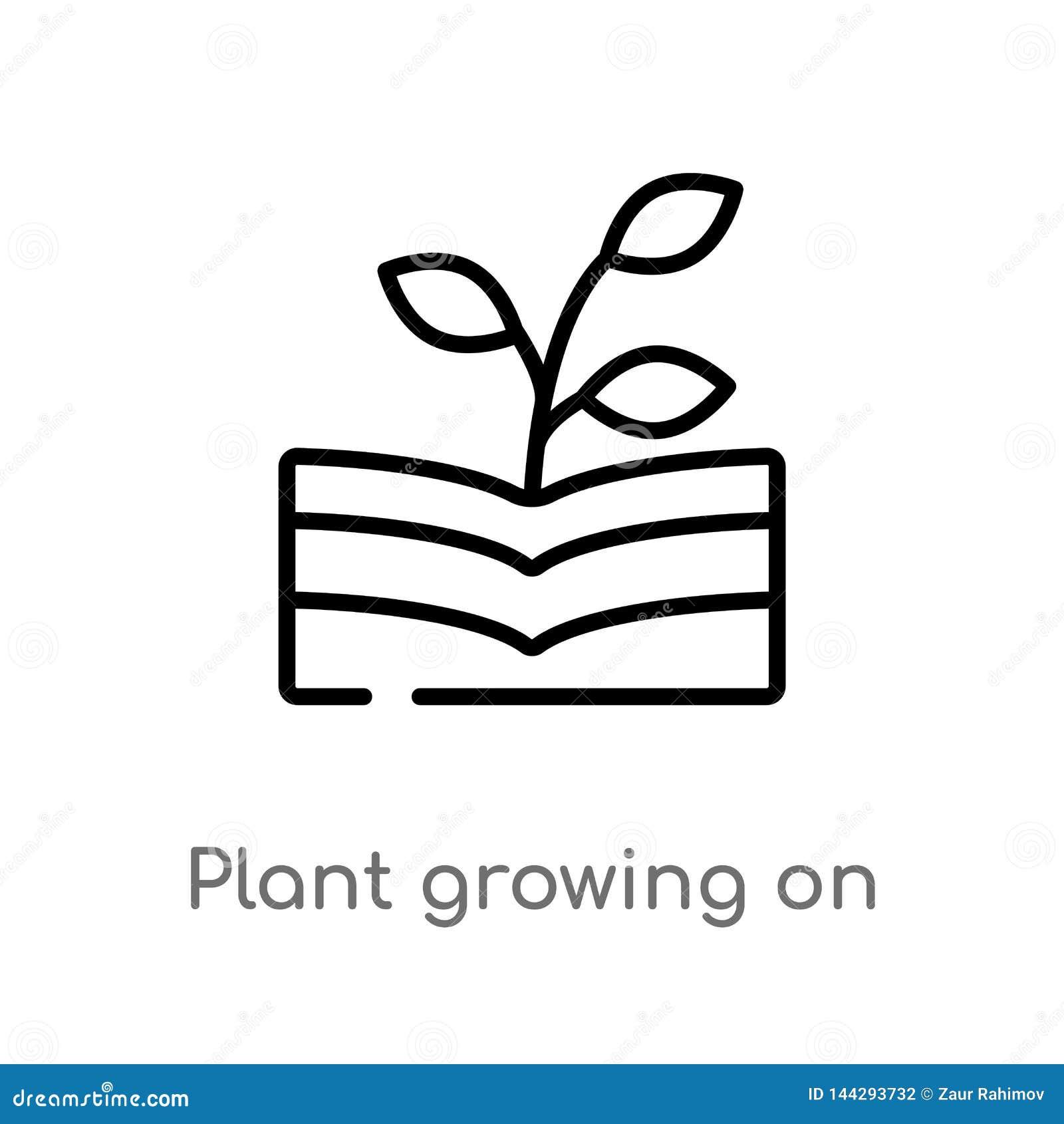 Overzichtsinstallatie het groeien op boek vectorpictogram de ge?soleerde zwarte eenvoudige illustratie van het lijnelement van aa