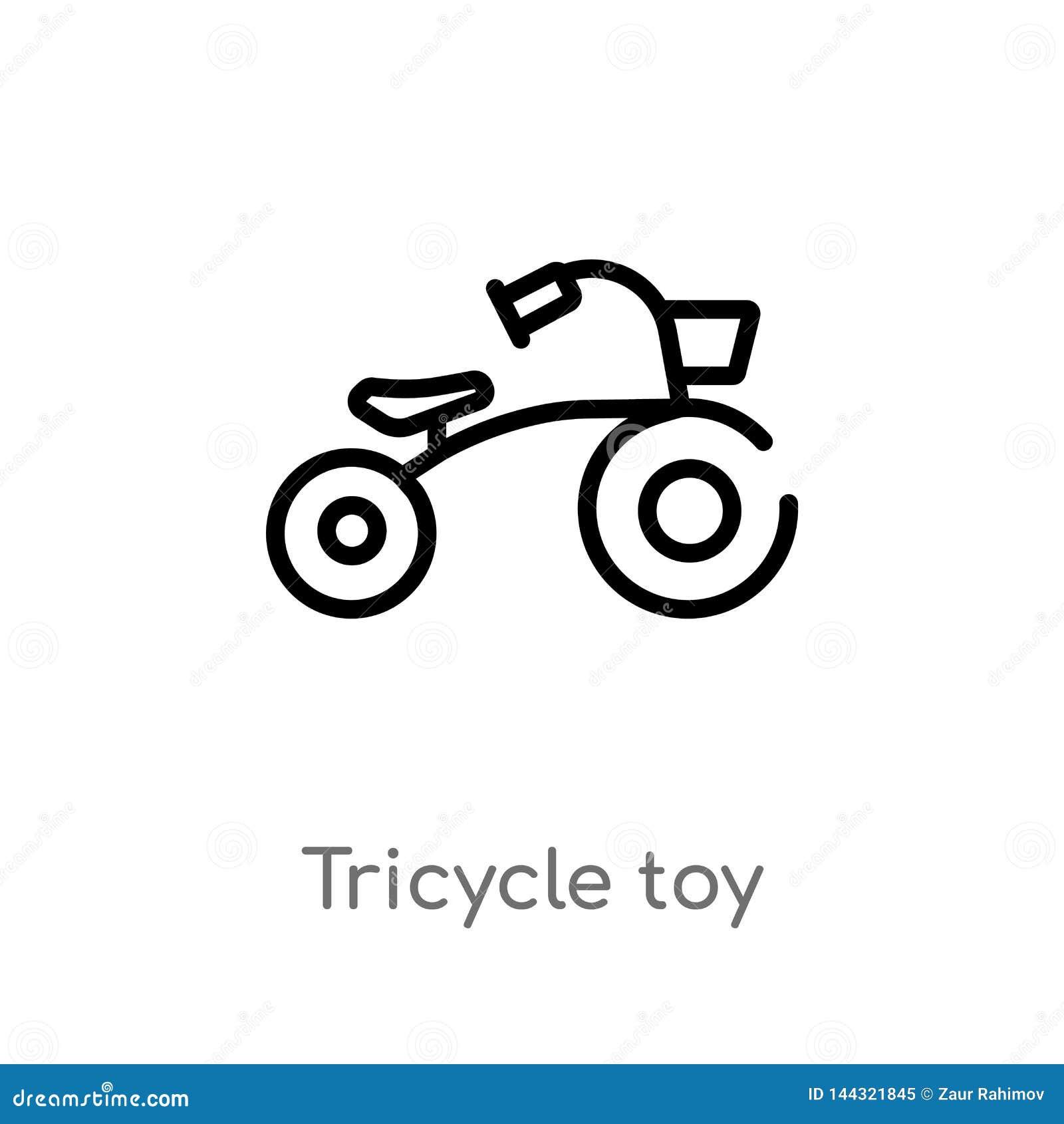 Overzichtsstuk speelgoed vectorpictogram met drie wielen de ge?soleerde zwarte eenvoudige illustratie van het lijnelement van spe
