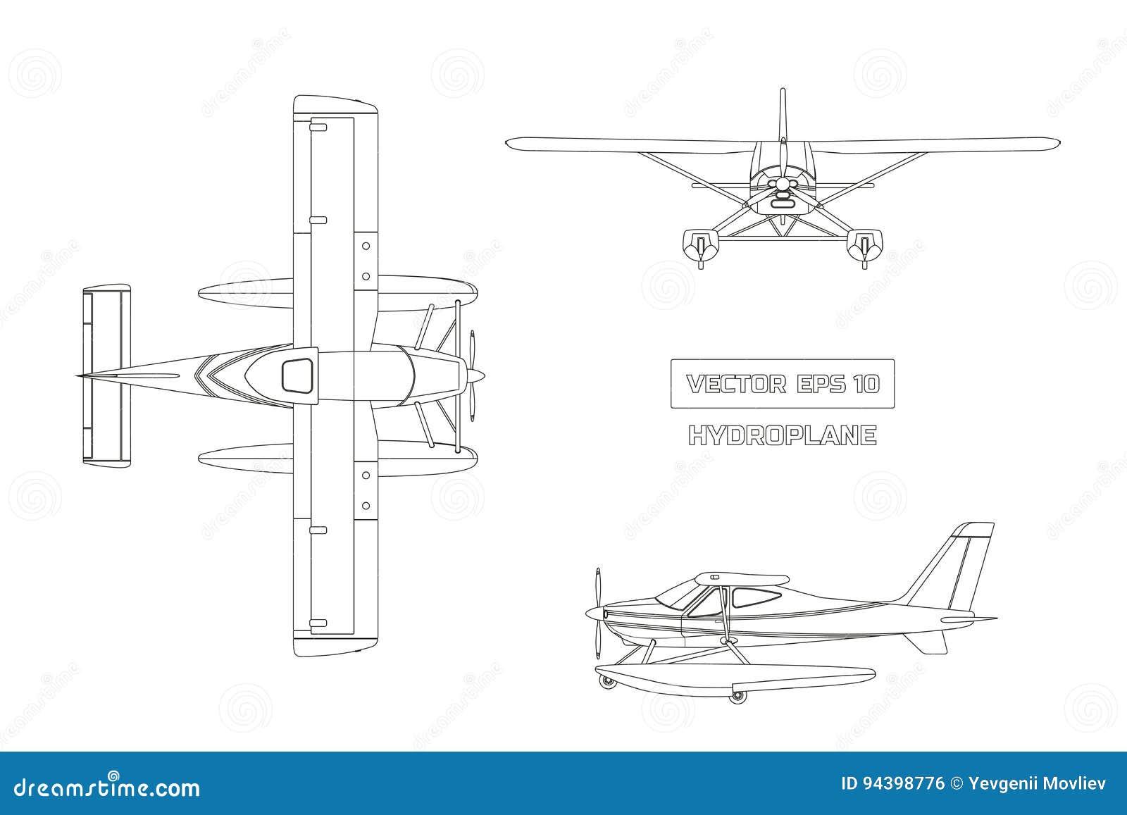 Overzichtstekening van vliegtuig in een vlakke stijl op een grijze achtergrond Ladingsvliegtuigen Hoogste, voor en zijaanzicht