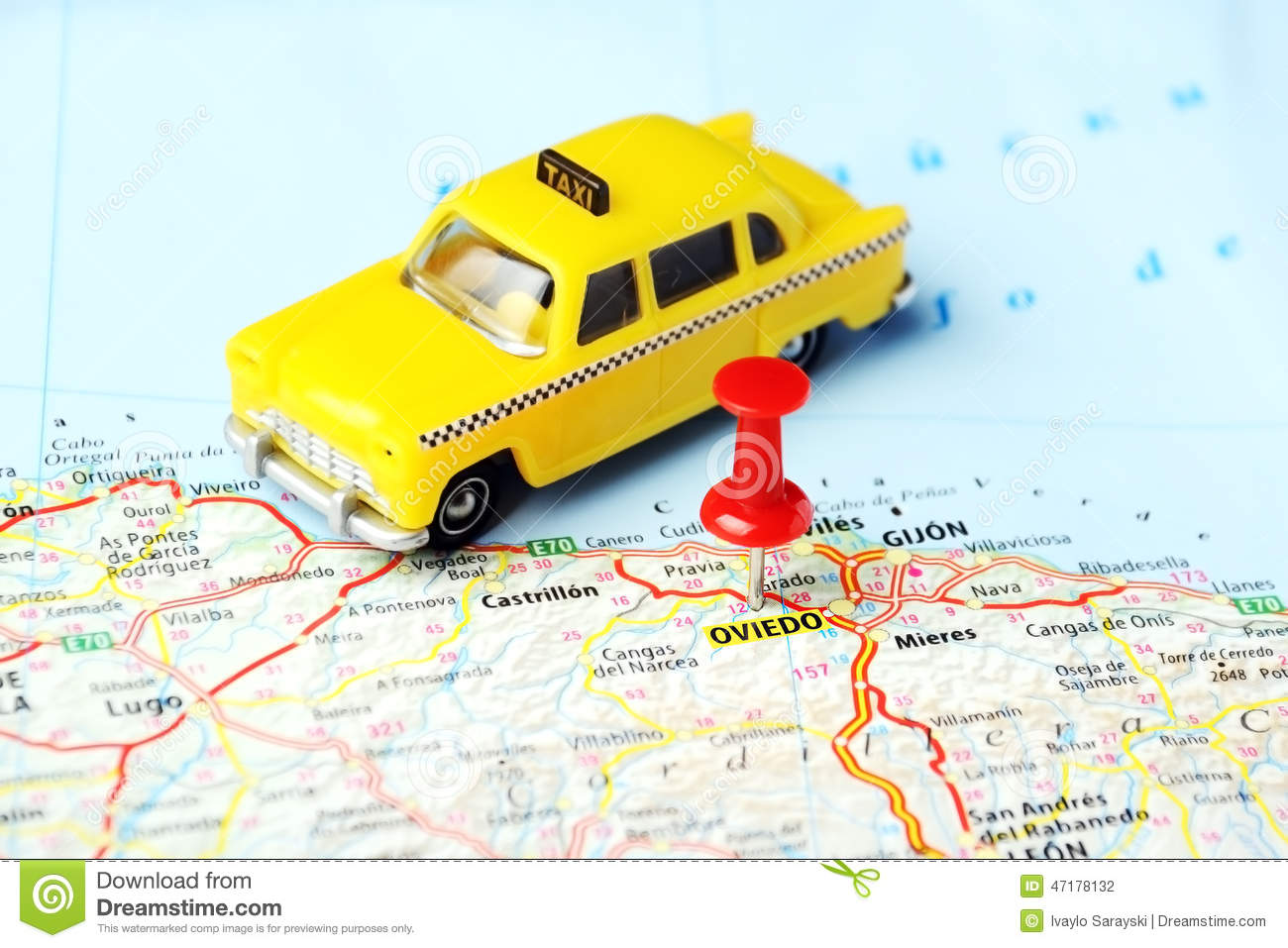 Oviedo Spain Taxi Map Stock Photo Image Of Spain Direction 47178132