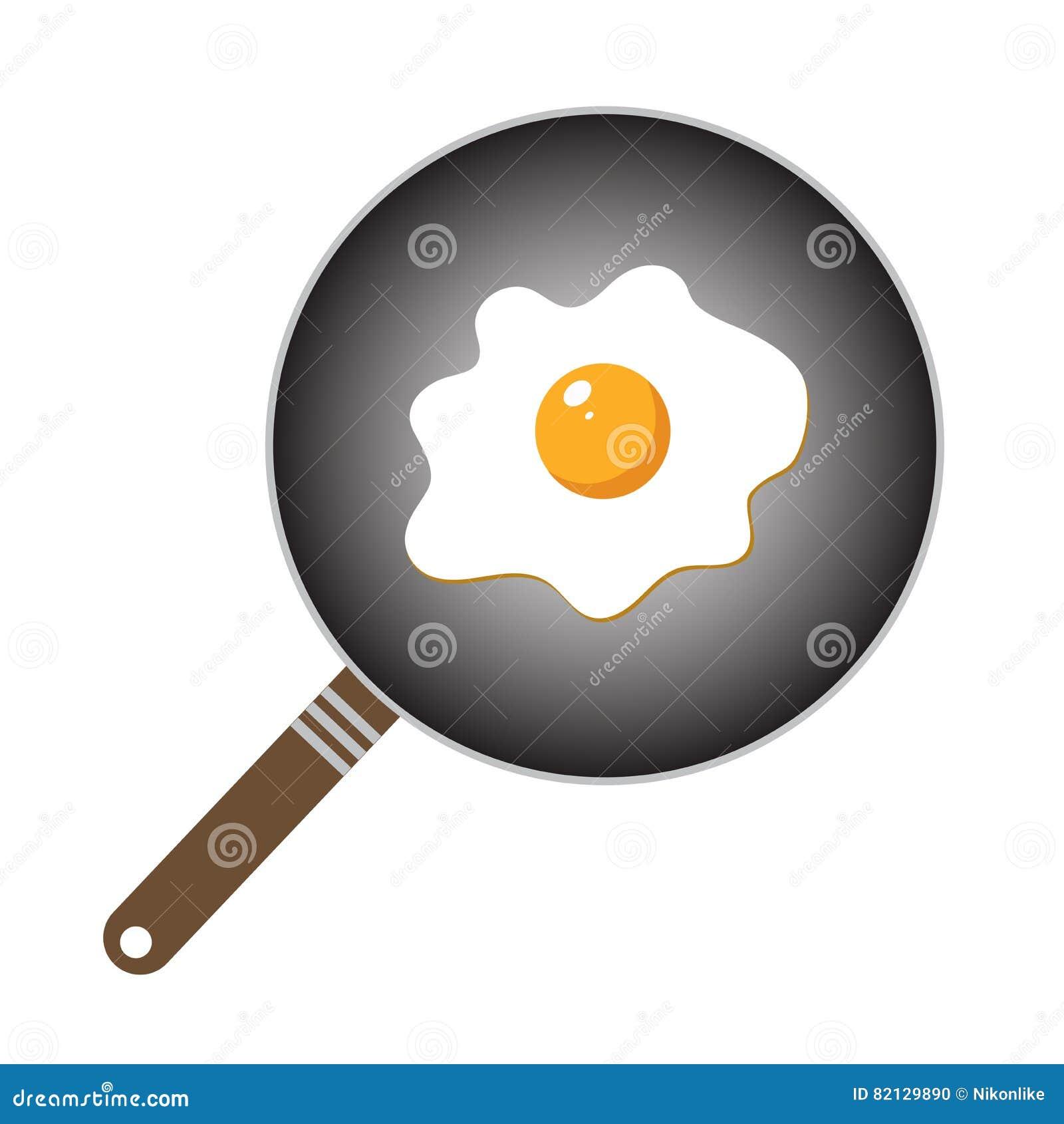 ovo frito no estilo dos desenhos animados ilustração do vetor