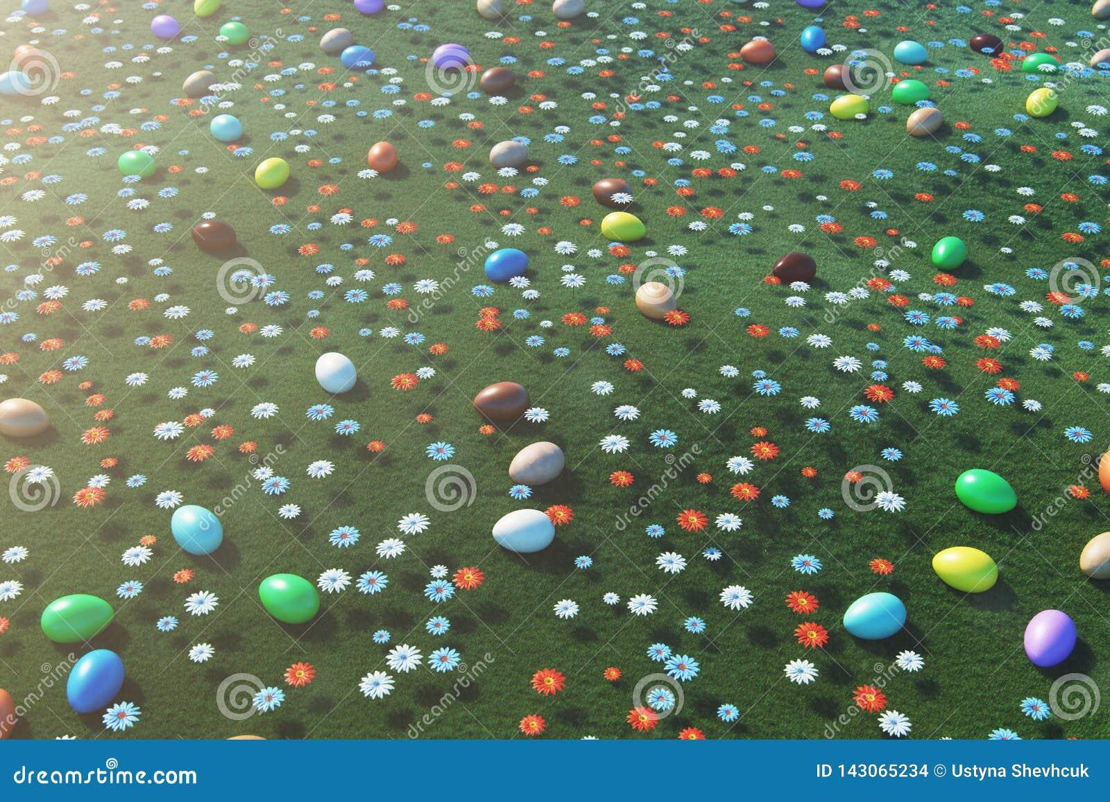 Ovos coloridos em um prado em um dia ensolarado, com flores bonitas Opini?o superior dos ovos da p?scoa na grama, gramado Conceit