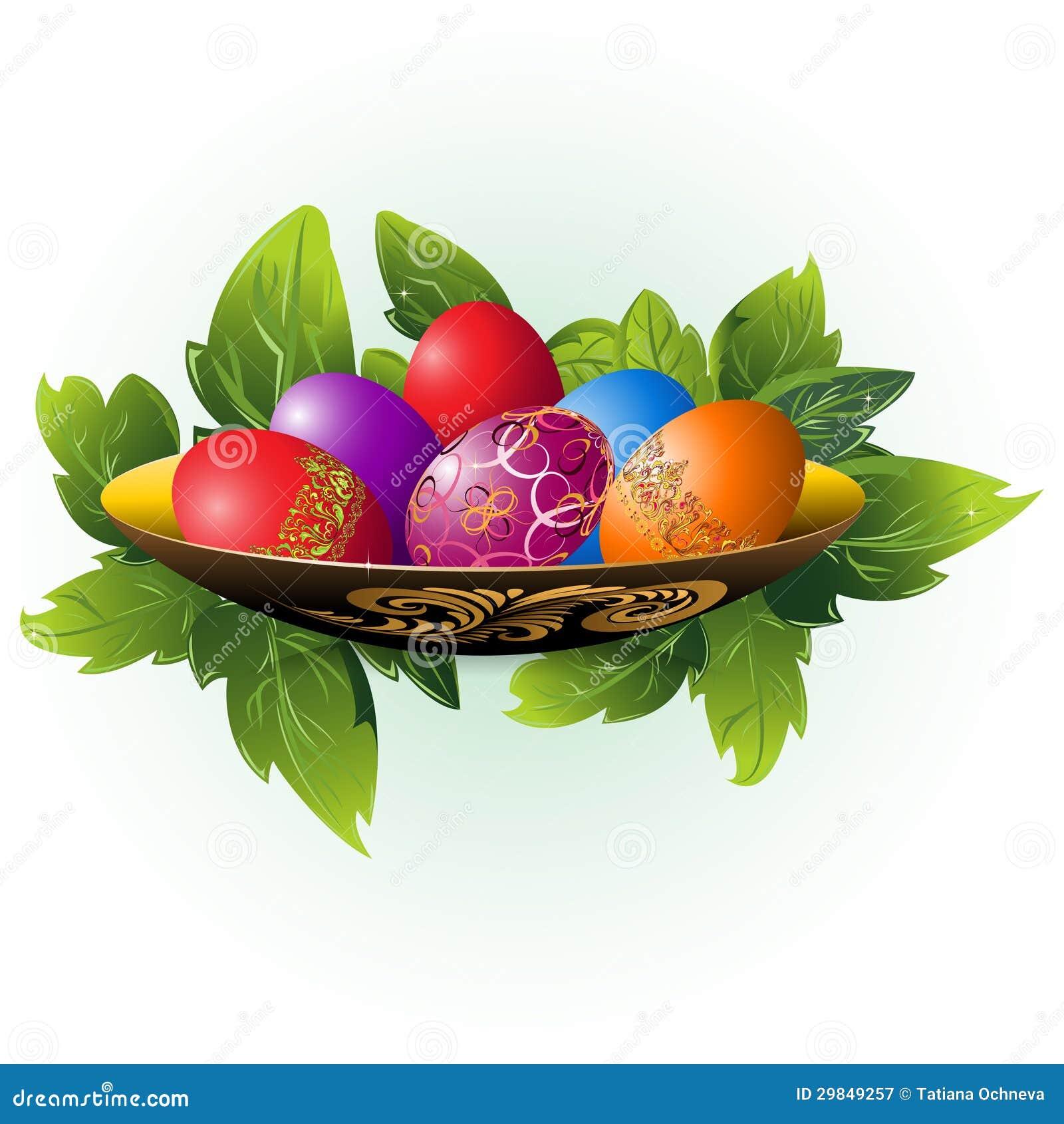 Ovos da páscoa em uma placa
