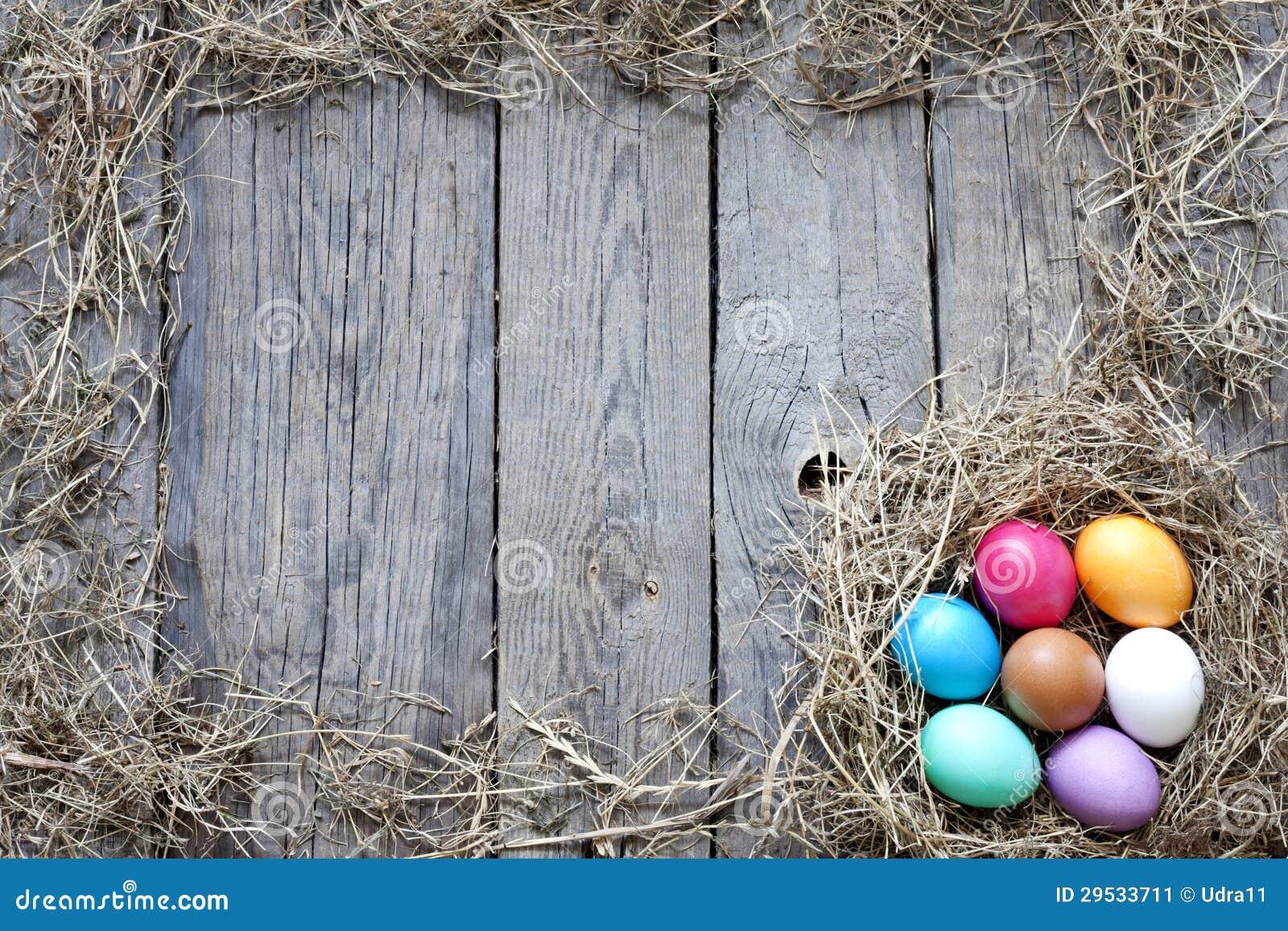 Ovos da páscoa no ninho em placas de madeira do vintage