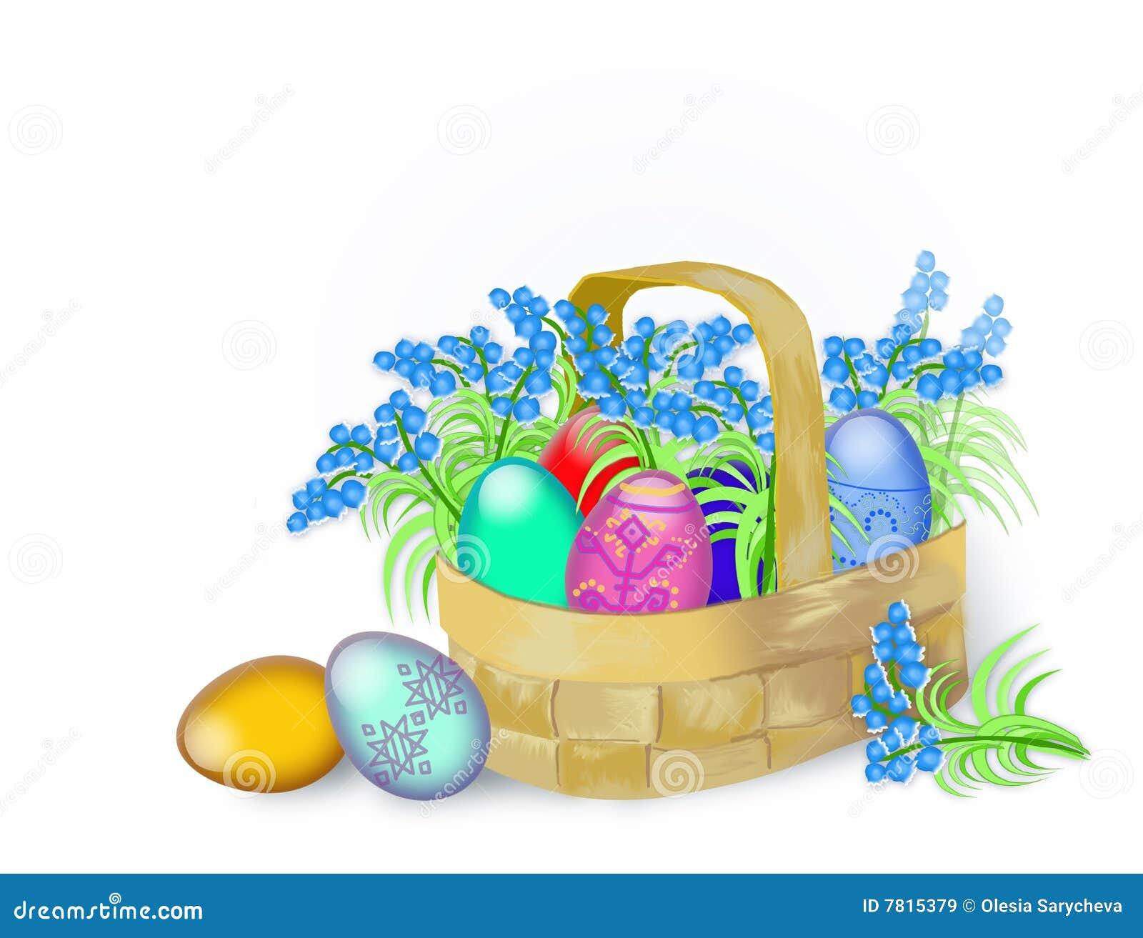 Ovos de Easter e flores da mola